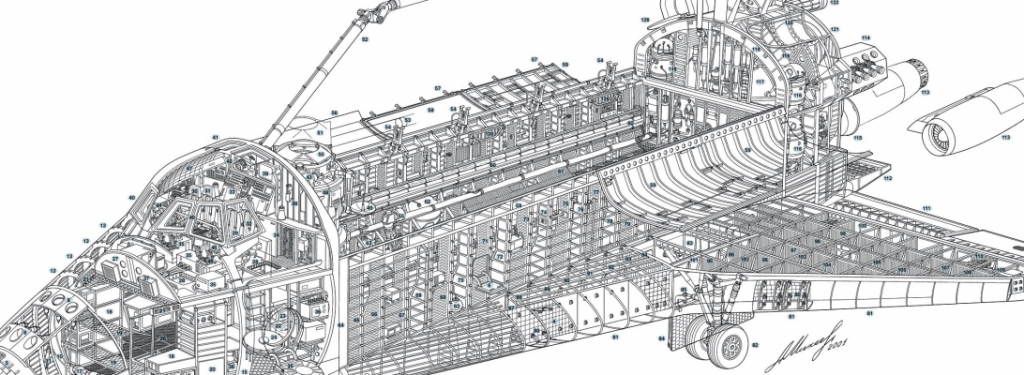black and white schematic drawing of the buran space shuttle