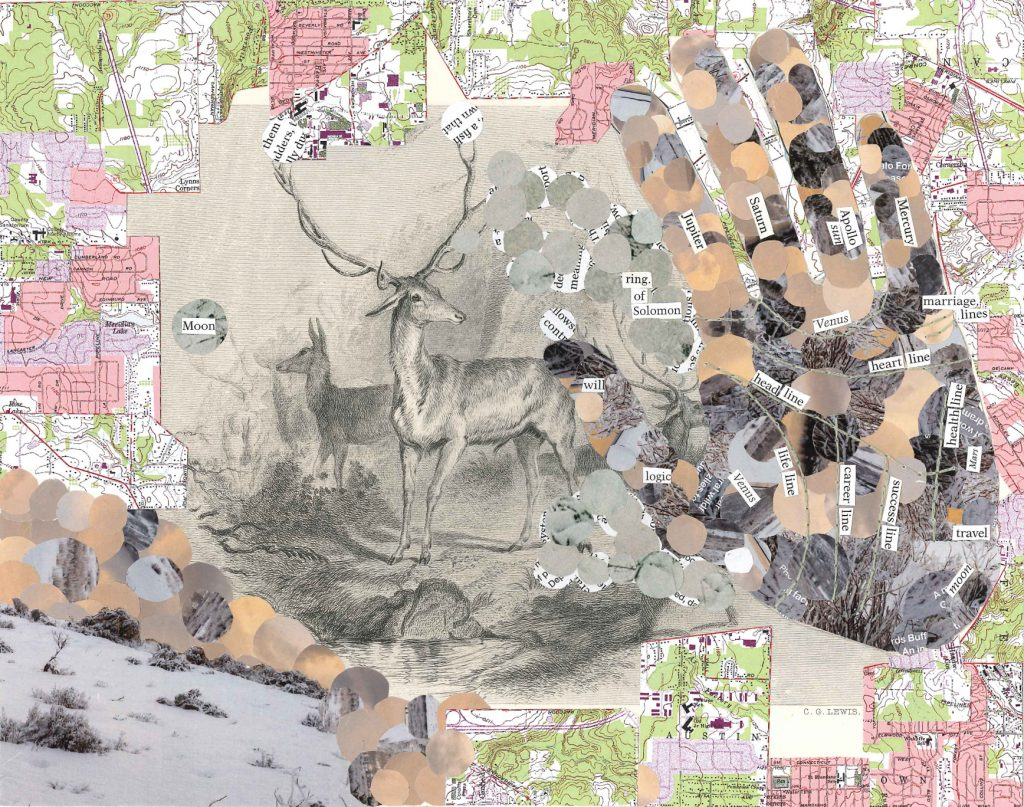 illustration of two deer, one with antlers, surrounded by a collaged border of topographical maps. On the right side of the image is the outline of a hand filled in with small brown, black, and grey circles. The lines on the hand are stitched in and labeled according to a palm reader's map