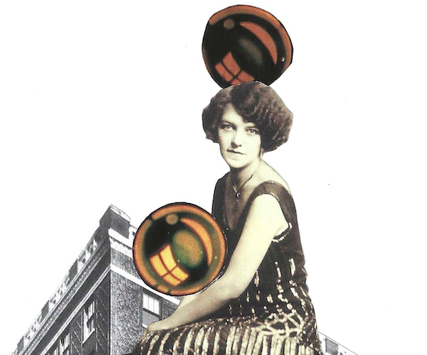 collage with black and white flapper woman sitting in the foreground holding and stepping on shiny orbs. black and white historical warehouse buildings in the background, illustrated landscape across the bottom in blues and greens, number 4 at the top.